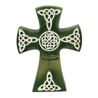 """4"""" Green and White Irish Cross with a Celtic Design and a """"Blessings"""" Inscription"""