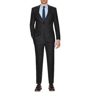 English Laundry Slim Black Textured Wool 2 pc Suit 38 Short 38S Pants 31W