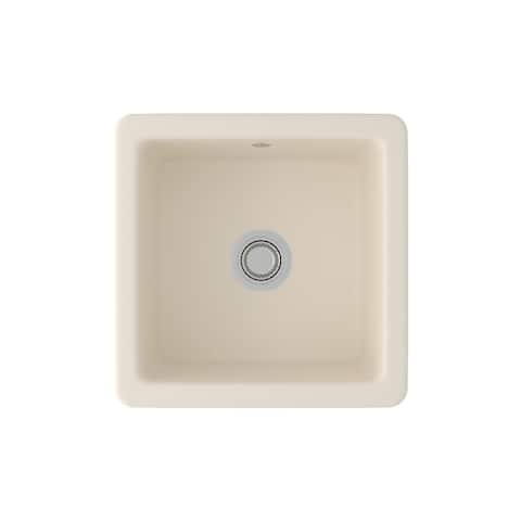 "Rohl RC1818 Shaws 18-1/8"" Drop In or Undermount Single Basin Fireclay Kitchen Sink"