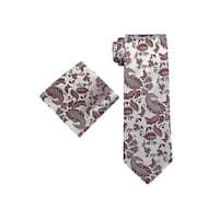 Men's Red Paisley 100% Silk Neck Tie Set Tie & Hanky 1874K