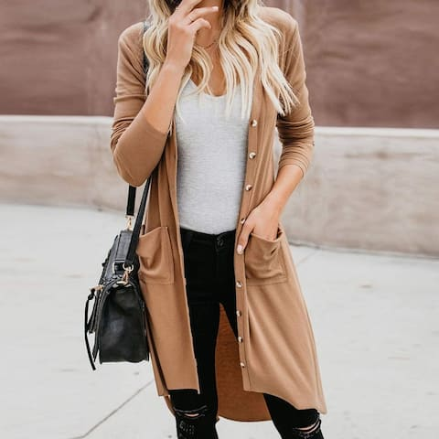 Long Sweater Dress Cardigans With Pockets