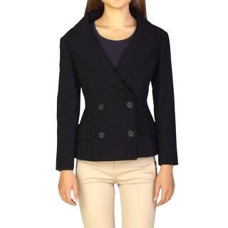 Prada Women's Virgin Wool Double Breasted Jacket Black