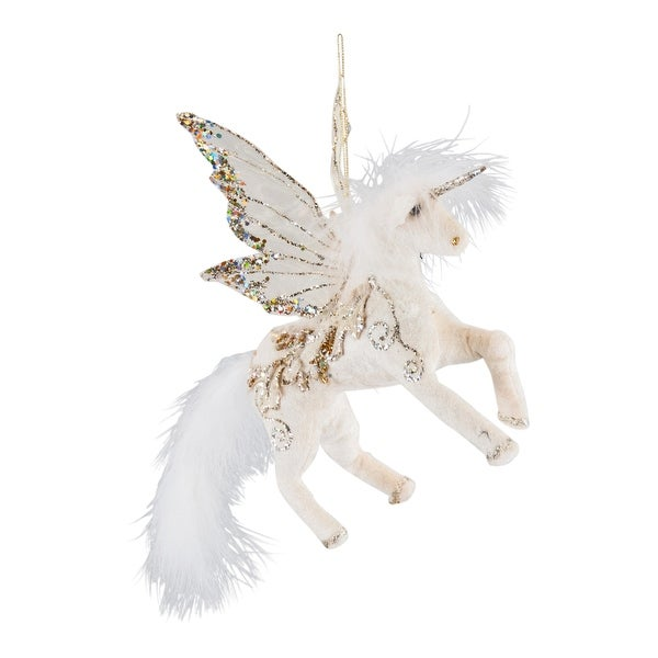 Golden Winged Unicorn Christmas Holiday Ornament
