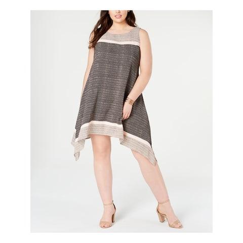 SIGNATURE Pink Sleeveless Below The Knee Dress 14W