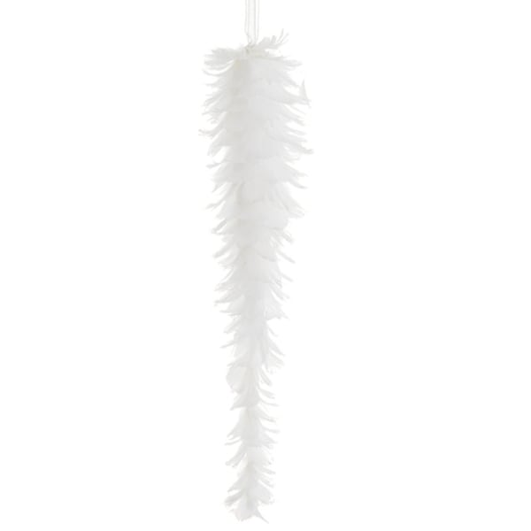 """12"""" Tell a Story White Feather Glittered Icicle Drop Christmas Ornament"""
