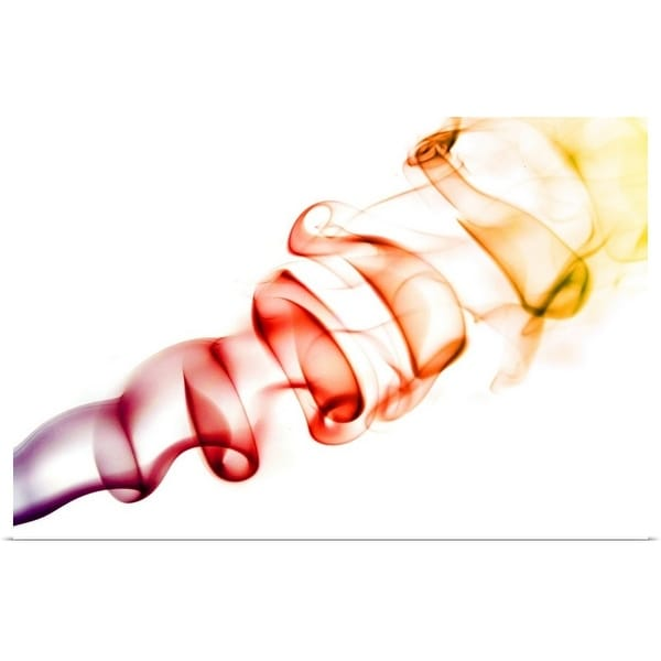 """""""Red/ Orange Coloured Smoke Curls Isolated on White"""" Poster Print"""