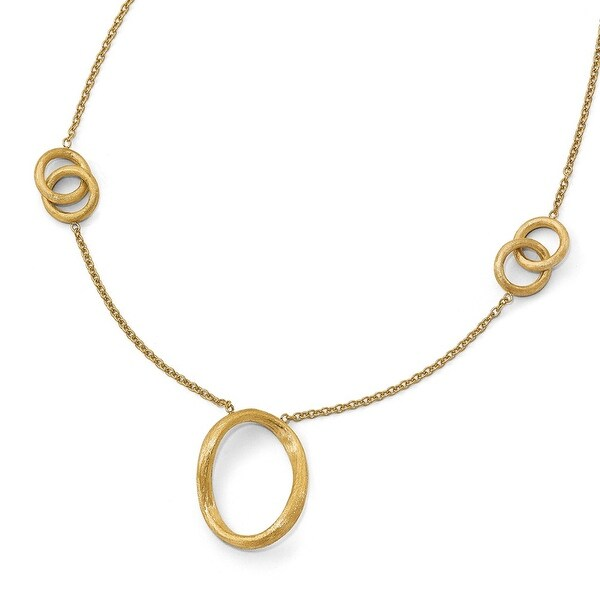 Italian 14k Gold Satin Finished Necklace - 17 inches