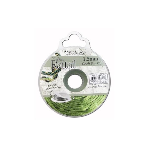 Dazzle It Rattail Cord 1.5mm 20yd Olive