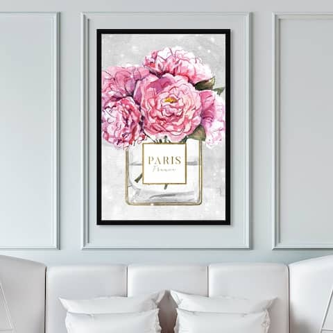Oliver Gal 'Sparkling Floral Perfume' Fashion and Glam Framed Wall Art Prints Perfumes - Pink, Gold