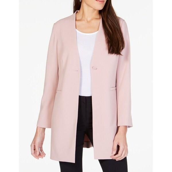 Alfani Womens Topper Jacket Blazer Blush Pink Size 8 One-Button