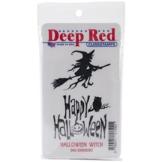 Deep Red Stamps Halloween Witch Rubber Cling Stamp - 2 x 3