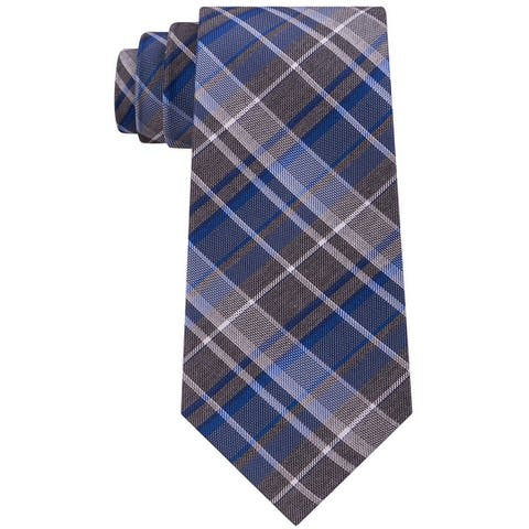 Kenneth Cole Mens Plaid Self-Tied Necktie - One Size