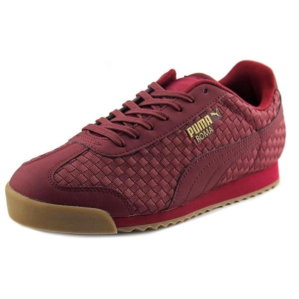 Puma Roma Weave Men Round Toe Canvas Burgundy Sneakers