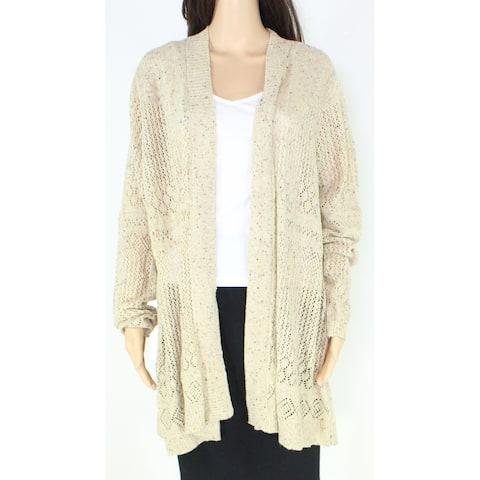 Belle Womens Sweater Tan Beige Size 2X Plus Knitted Cardigan Open-Front