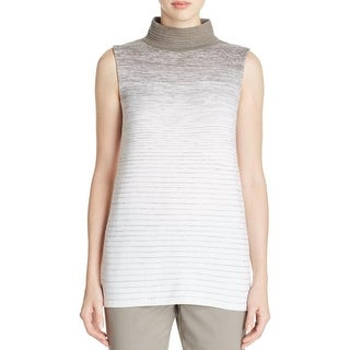 Lafayette 148 Womens Petites Sweater Vest Turtleneck Striped
