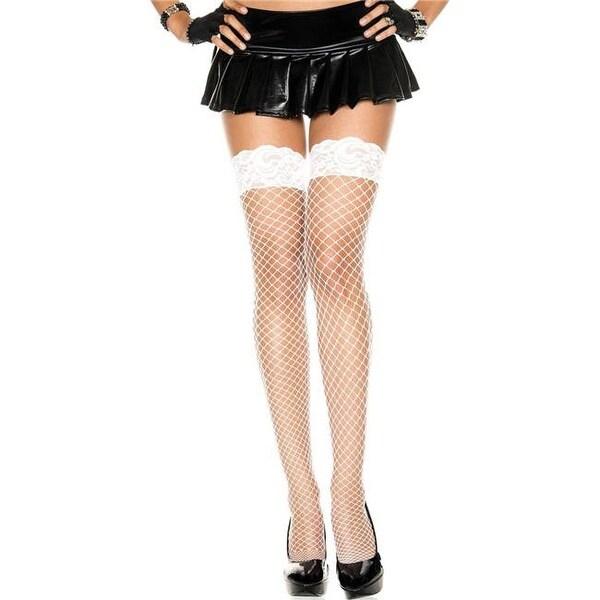 7a375efca Shop Lace Top Spandex Mini Diamond Net Thigh High Stockings