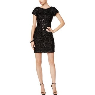 SD Collection Womens Petites Cocktail Dress Eyelash Sequined