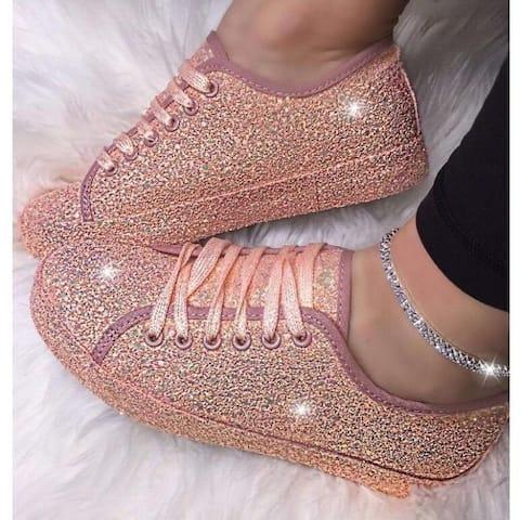 Lace Up Metallic Sequins Light Weight Sneaker