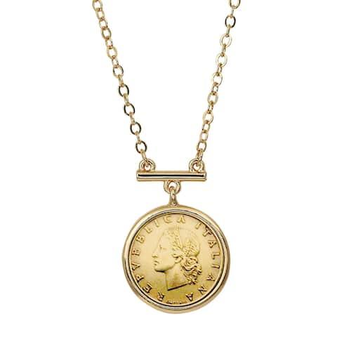 Italian 20 Lira Coin Goldtone Bar Necklace