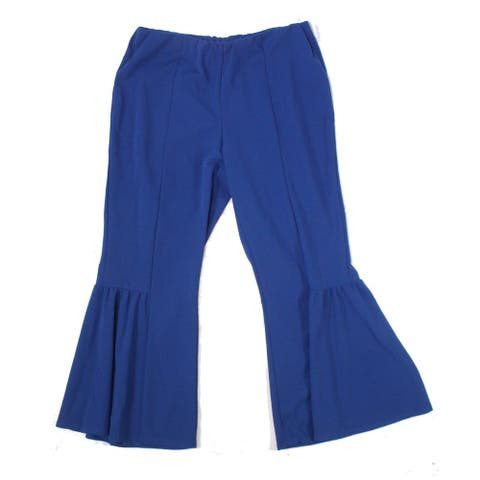 NY Collection Womens Pants Blue Size 2X Plus Flare-Leg Pull-On Stretch