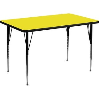 Offex 24''W x 48''L Rectangular Activity Table  High Pressure Yellow Laminate Top and Standard Height Adjustable Legs