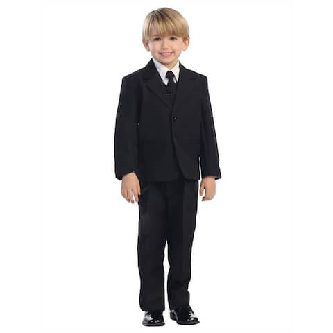 Little Boys Black Single Breasted Jacket Vest Shirt Tie Pants 5 Pc Suit