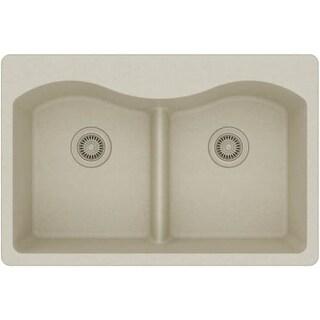 "Elkay ELGLB3322 Harmony 33"" Double Basin Granite Composite Kitchen Sink for Drop In Installations with 50/50 Split, 5 Pre-Scored"