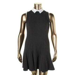 Lauren Ralph Lauren Womens Petites Shirtdress Pindot Collared