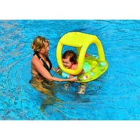 "26"" Yellow Sea Creatures Inflatable Swimming Pool Baby Float with Sunshade"