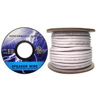 Speaker Cable, White, Pure Copper, CM / In-wall rated, 16/4 (16 AWG 4 Conductor), 65 Strand / 0.16mm, Spool, 50 foot