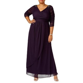 Adrianna Papell Plus Size Embellished 3/4 Sleeve Evening Gown Dress - 14W
