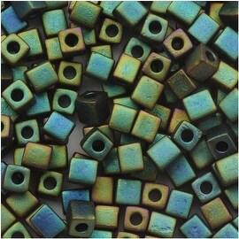 Miyuki 4mm Glass Cube Beads Metallic Teal Iris Matte 2066 10 Grams