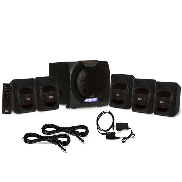 Acoustic Audio AA5230 Bluetooth 5.1 LED Speaker System Optical In & 2 Ext Cables