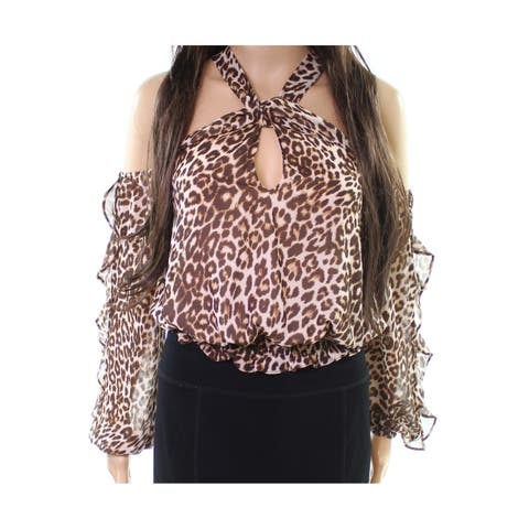 Guess Brown Womens Size XS Leopard Print Halter Cropped Blouse