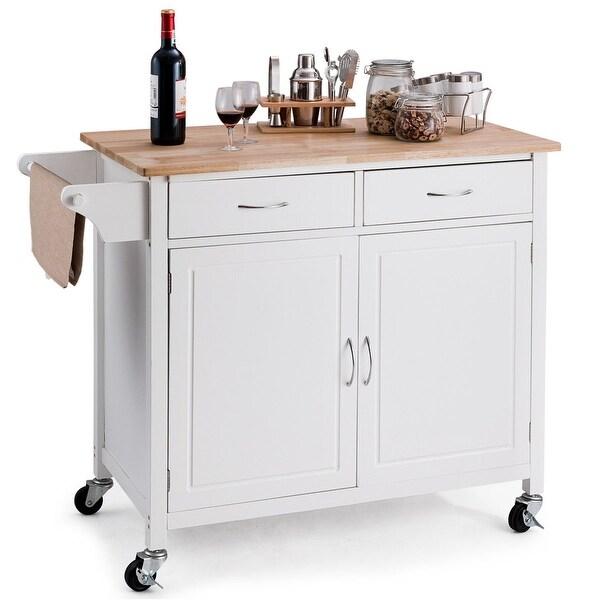 Costway Modern Rolling Kitchen Cart Island Wood Top Storage Trolley Cabinet Utility New