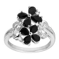 1 1/4 ct Natural Onyx Flower Ring with Diamonds in Sterling Silver - Size 7 - Black