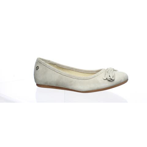 Hush Puppies Womens Heather Bow Ice Grey Suede Ballet Flats Size 5.5