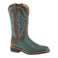 Twisted X Boots Women's WTH0011 Top Hand Cowboy Boot Brown/Turquoise Leather