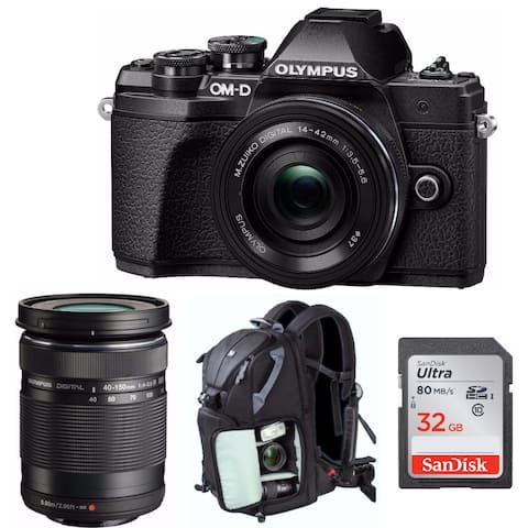 Olympus OM-D E-M10 Mark III Mirrorless Camera (Black) with 2 Lens Bundle
