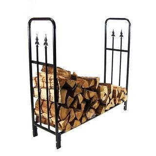 Sunnydaze Decorative Firewood Log Rack - Multiple Sizes - Black