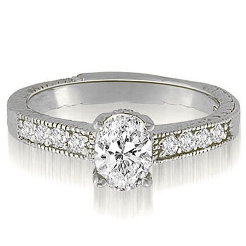 0.70 cttw. 14K White Gold Antique Milgrain Round Cut Diamond Engagement Ring