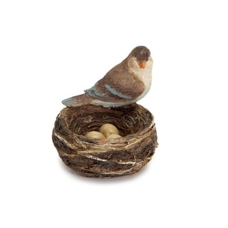 Pack of 12 Bird Nest with a Bird Sitting on the Side with 3 Eggs 4""
