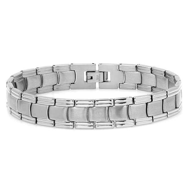 Oxford Ivy Mens Stainless Steel Patterned Link Bracelet 8 1/4 inch - Silver