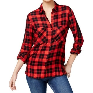Guess Womens Button-Down Top Lace Shoulder Seam Flannel - s