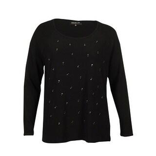 Jones New York Women's Embellished Crepe Sweater - Plum Wine - xL