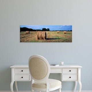 Easy Art Prints Panoramic Images's 'Hay bales in a field, Marion County, Illinois, USA' Premium Canvas Art