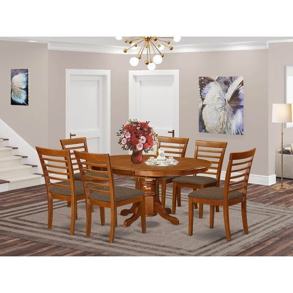 Dining Room Set Includes Oval Dinette Table with Leaf and a Set of Dining Chairs. Opens flyout.