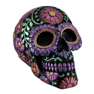 Black and Purple Metallic Finish Day of the Dead Sugar Skull Coin Bank