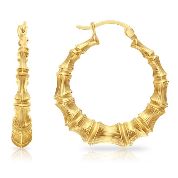 Mcs Jewelry Inc 14 KARAT YELLOW GOLD BAMBOO STYLE EARRINGS (DIAMETER: 27MM)