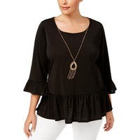 NY Collection Womens Plus Pullover Top Bell Sleeves Ruffled